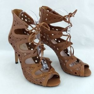 Vince Camuto 6.5M 36.5 Heels Brown leather Cage